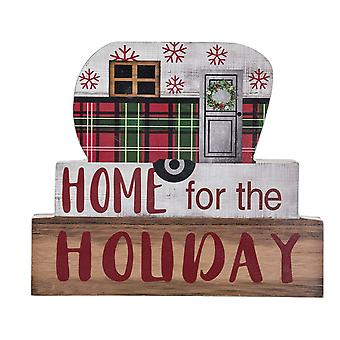 Chunky Print Stacking Block Sign Home for the Holiday Plaid Camper Shelf Sitter