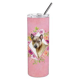 Thaise Ridgeback roze bloemen dubbelwandige RVS 20 oz mager tuimelaar