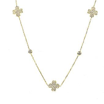 Latelita Sterling Silver Gold Long Lucky Four Leaf Clover Necklace CZ 90cm
