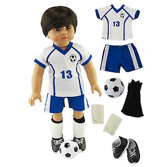 18-quot; Vêtements de poupée Bleu et Blanc Tenue de football avec Shin Guards, Chaussures et Ballon