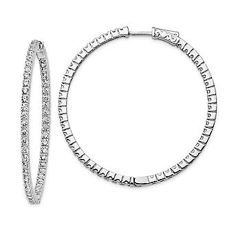 925 Sterling Silver Silver Polished Hinged hoop Safety clasp Rhodium plated Rhodium Plated CZ Cubic Zirconia Simulated Diamond