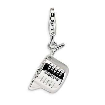 925 Sterling Silver Rhodium plated Fancy Lobster Closure Polished Measuring Cup With Lobster Clasp Charm Pendant Necklac
