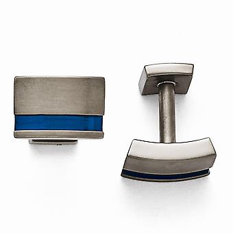 Titanium Grey Ti Brushed Blue Anodized Stripe Cuff Links Jewelry Gifts for Men