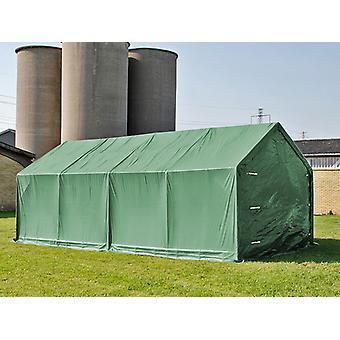 Capannone tenda PRO 5x8x2,5x3,89m, PVC, Verde