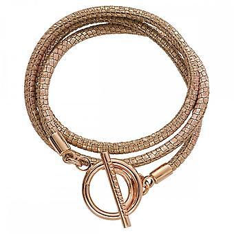 Nikki Lissoni Metallic Rose Reptile Leather Rose Gold Plated Wrap Bracelet