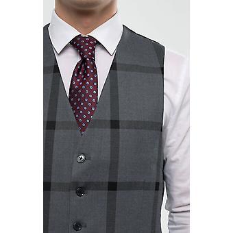 Dobell Mens Grey/Black Bold Check Waistcoat Regular Fit 5 Button