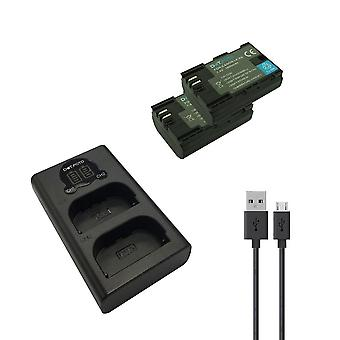 Dot. foto LP-E6 udskiftningsbatteri (2-pak) & hurtig LCD USB Dual Charger til Canon [Se beskrivelse af kompatibilitet]