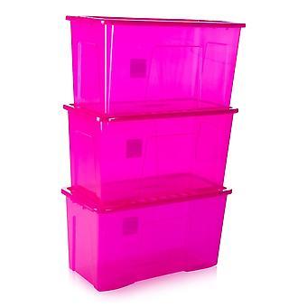 Pack de stockage Wham de 3 - 110 litres Crystal Plastic Storage Boxes With Lids
