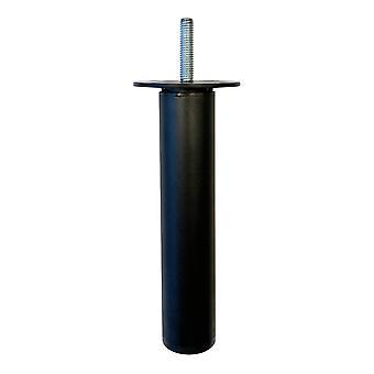 Rund verstellbares schwarzes Möbelbein 15,5 cm (M8)