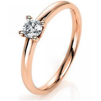 Anillo de diamantes - oro rojo 14K 585 - 0.3 ct.