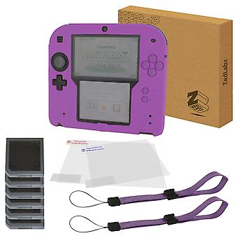 Zedlabz essentials kit for nintendo 2ds inc silicone cover, screen protectors, game cases & wrist straps - purple