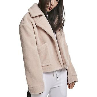 Urban Classics Ladies - Oversize Sherpa Lapel Jacke rosa