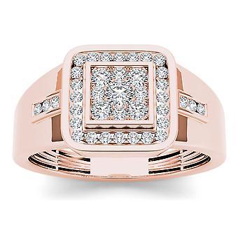 IGI certifié Halo mariage bague 10 k or Rose 0,50 Ct diamant naturel masculin