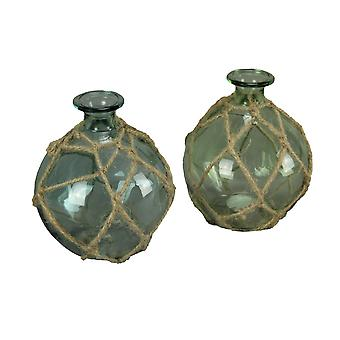 Blue Green Glass Rope Wrapped Decorative Vase Buoy Bottle Coastal Decor Set of 2