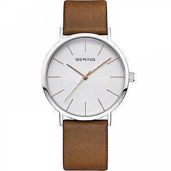 Uhr Bering 13436-506 - Heller Stahlrahmen weiß braun Lederarmband
