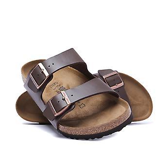 Birkenstock Arizona sandalias de cuero marrón oscuro