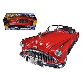 1949 Buick Roadmaster Red/Black Custom 1/18 Diecast Car Modelo por Motormax