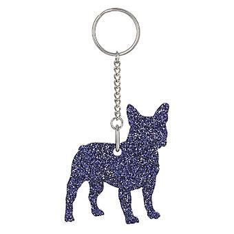 Purple French Bulldog Style 2 Glitter Acrylic Keyring