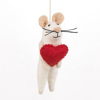 Felt Loving Mouse Hanging Decoration| Gifts From Handpicked
