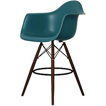 Charles Eames Style Teal Plastic Bar Stool With Arms - Walnut Legs