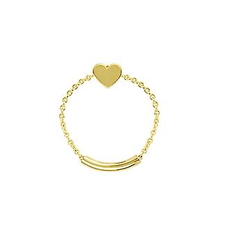 14k Yellow Gold Heart Shape Chain Ring Sizing Bar Jewelry Gifts for Women - Ring Size: 6 to 8