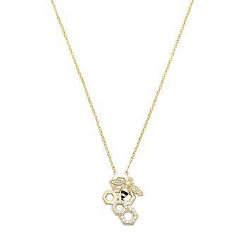 16 tommers + 2 tommers extention 14k gullbelagt 925 sterling sølv halskjede honeycomb honning bie dråpe smykker gaver til kvinner