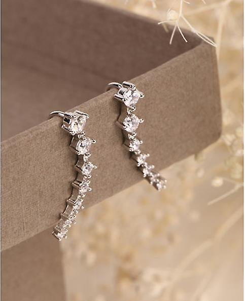 Crystal Encrusted Ear Climber Earrings - Silver