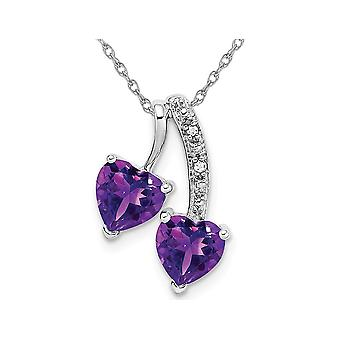 1.50 Carat (ctw) Natural Amethyst Double Heart Pendant Necklace in 14K White Gold with Chain
