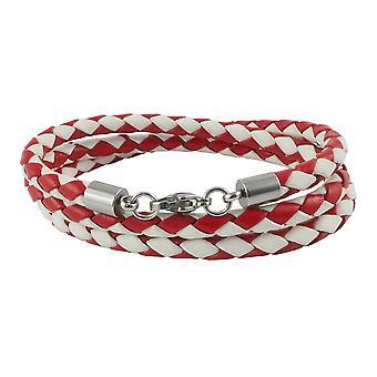 Lederen ketting lederen koord 4 mm heren ketting rood / wit 17-100 cm lang met karabijn sluiting zilver gevlochten