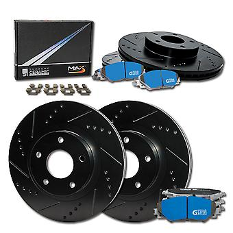 Black Slot Drill Rotor w//Ceramic Pads R See Desc. 2005 Fit Chrysler Crossfire