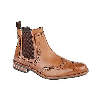 Roamers Tan Leather Brogue Boot Textile Lining & Pu Sock Tpr Sole