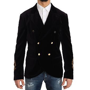 Dolce & Gabbana Black Cotton Royal Crown Blazer Jacket