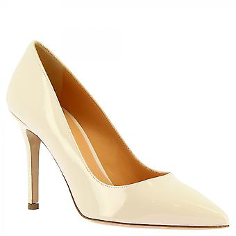 Leonardo Shoes Women-apos;s main high heels pumps shoes in cream patent leather