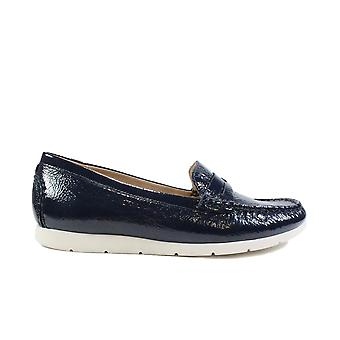 Caprice 24251 Navy Patent Leather Womens Slip On Moccasin Shoes