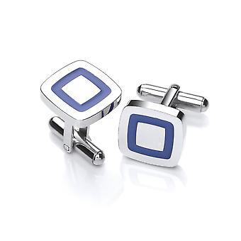 David Deyong Stainless Steel Blue Line Square Cufflinks