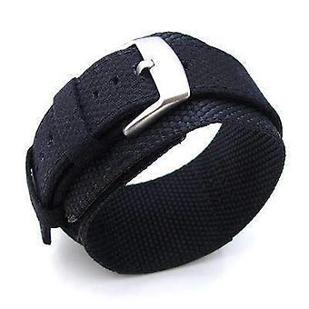 Strapcode fabric watch strap miltat 24mm double layer nylon black tactical velcro watch strap, design for 44mm panerai watches