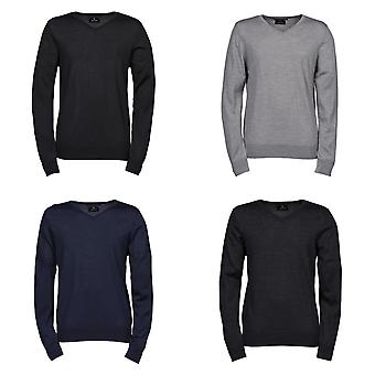 Tee Jays Mens Knitted V Neck Sweater