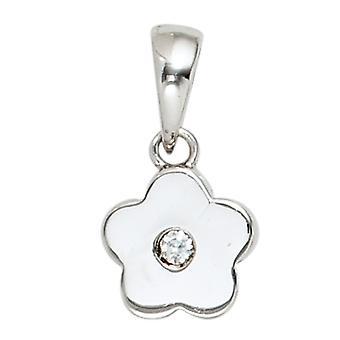 الاطفال قلادة زهرة 925 الاسترليني الفضة الروديوم مطلي 1 مكعب zirconia الاطفال قلادة