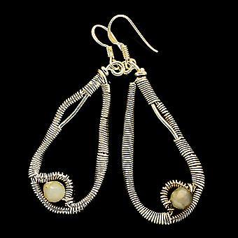 "Rainbow Moonstone Earrings 2 1/4"" (925 Sterling Silver)  - Handmade Boho Vintage Jewelry EARR400521"