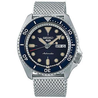 Seiko 5 Sports Blue Dial Silver Steel Mesh Bracelet Automatic Men's Watch SRPD71K1 RRP £300