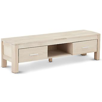 Furnhouse Paris TV Stand, Solid Oak, Vit olja Finish, 2 lådor, 150x42x40 cm