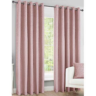 Belle Maison Lined Eyelet Curtains, Sahara Range, 46x72 Blush