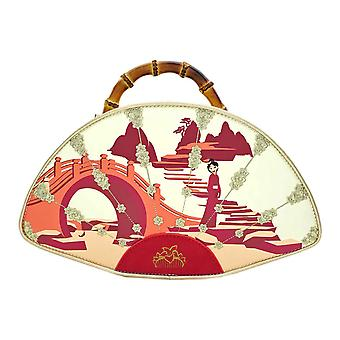 Mulan Handbag Bamboo Fan new Official Loungefly Disney Movie Red Faux Leather
