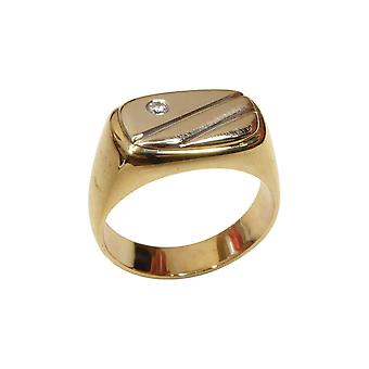 Christian bicolor gold cachet ring with diamond