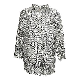 Alfred Dunner Women's Plus Top Printed Long Sleeve Button Down White