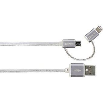 Skross iPod/iPhone/iPad Pro/iPad USB cable [1x USB - 1x Micro USB plug, Apple Dock lightning plug] 1.00 m Silver