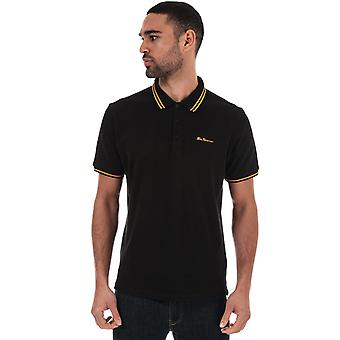 Ben sherman men's black twin tipped polo shirt