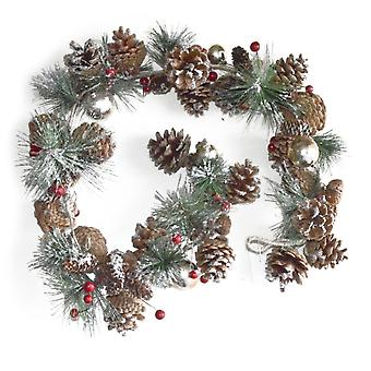 1,1m Pine Cone, Berry & Bauble Artificial Christmas Floristry Garland