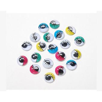 30 Coloured 10mm Printed Craft Googly Eyes | Wiggly Wobbly Eyes