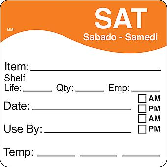 DayMark Removable Saturday Shelf Life Use By Labels